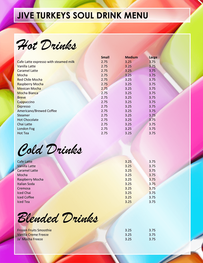 Plus attractive drink menu templates for your bar business bar menu template word saigontimesfo