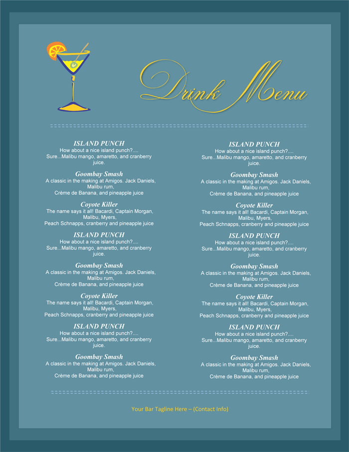 5 attractive drink menu templates for your bar business for Drink menu template microsoft word
