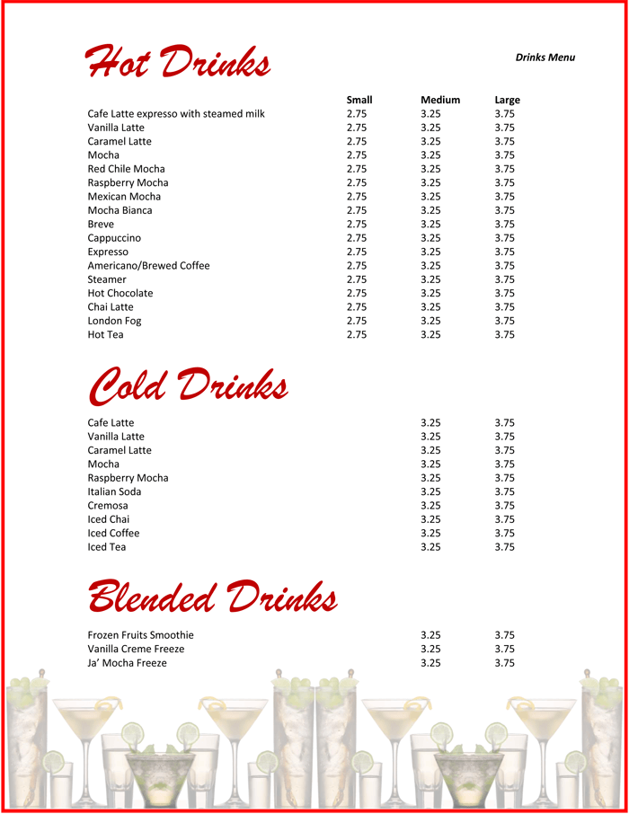 5 Plus Attractive Drink Menu Templates for Your Bar Business – Drinks Menu Template Free