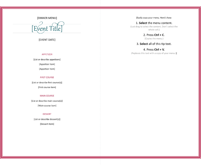 Event Dinner Menu Template