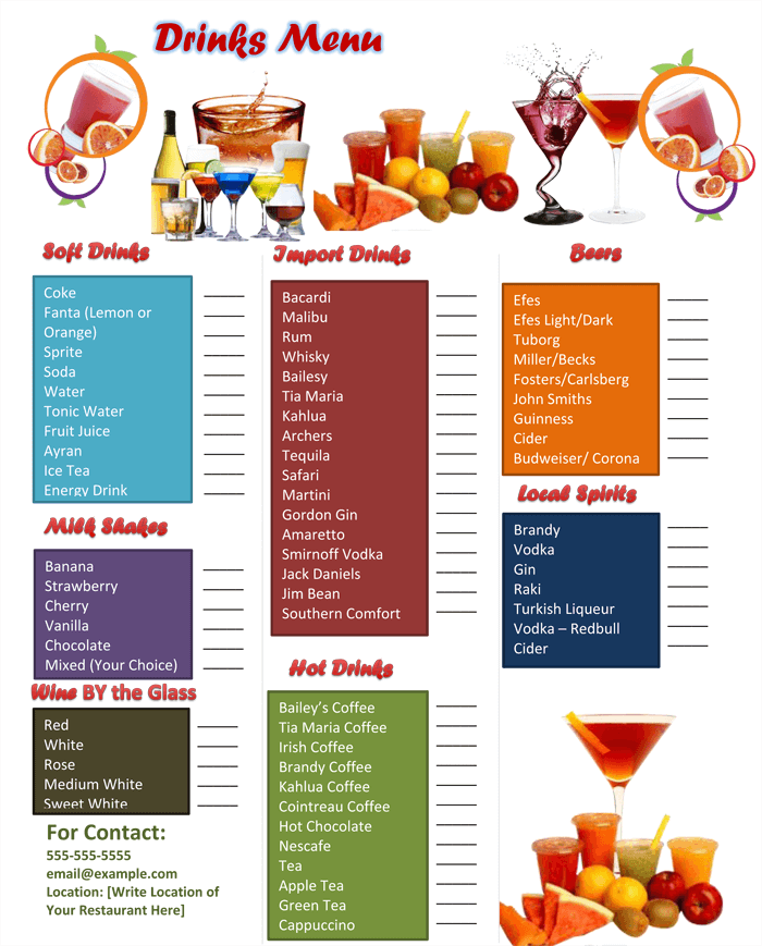 Free Bar Drink Menu Template,
