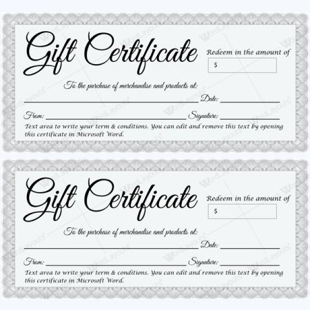 fill in gift certificate