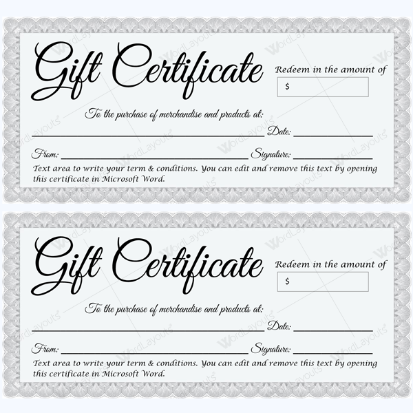 Gift Certificate 30 - Word Layouts
