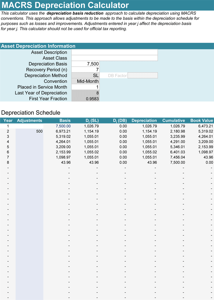 5 Plus Depreciation Calculator Templates for Excel – Depreciation Worksheet