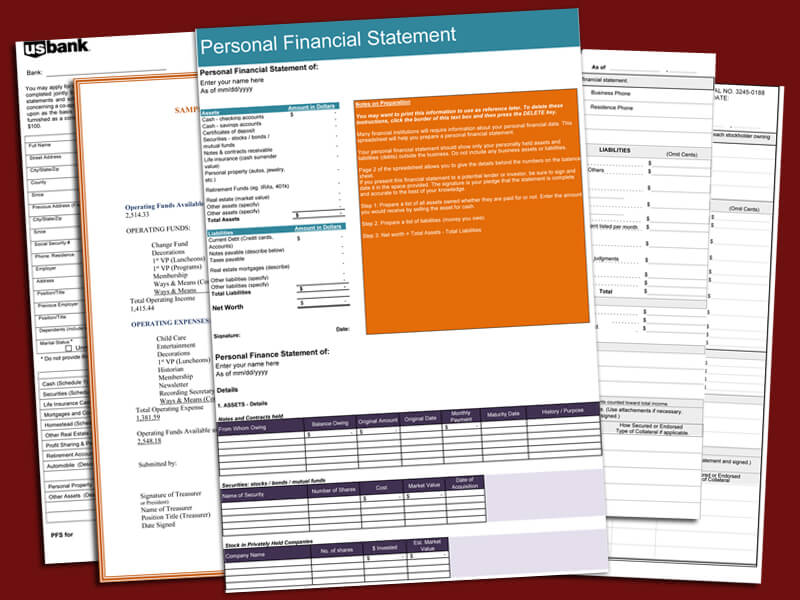 blank personal financial statement forms