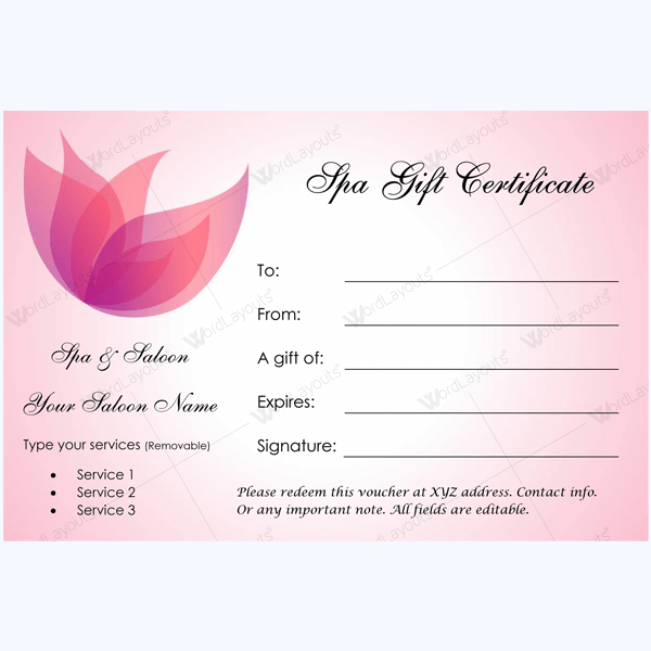 spa gift certificate template free download wwwimgkid