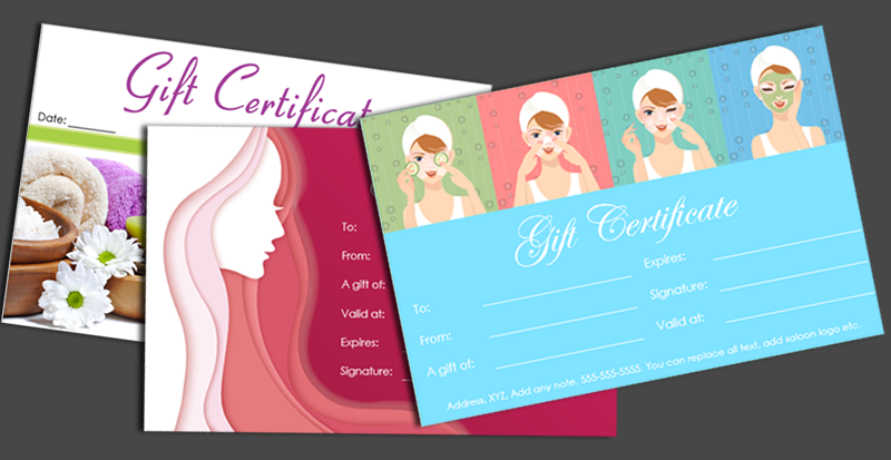 Spa gift certificate designs (featured image)
