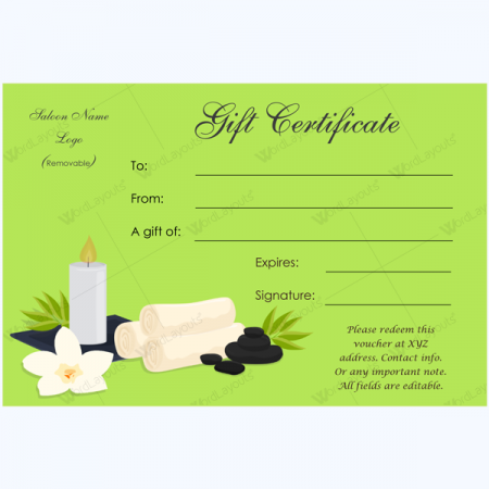 Spa Gift Certificate Templates Leoncapers