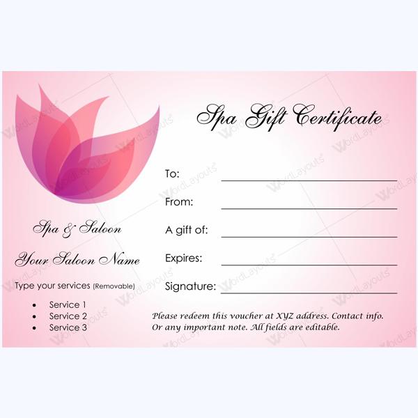 Editable Massage Gift Certificate Template