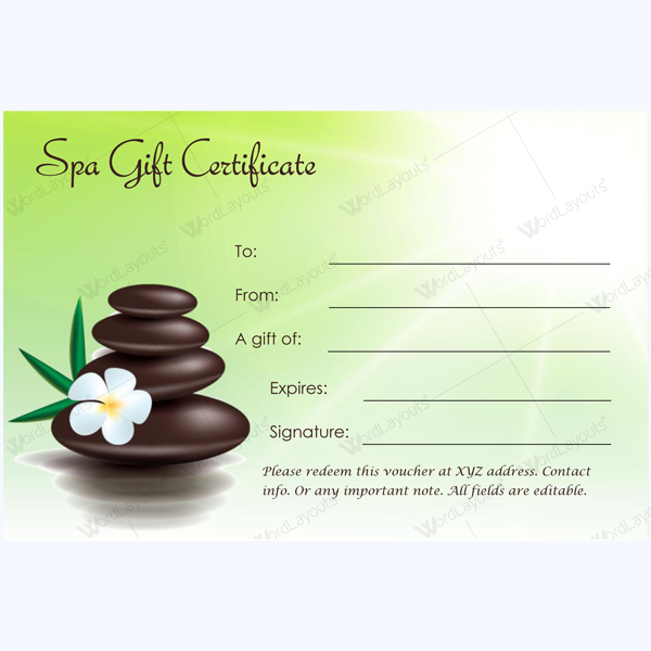 Gift Certificate 22 Word Layouts