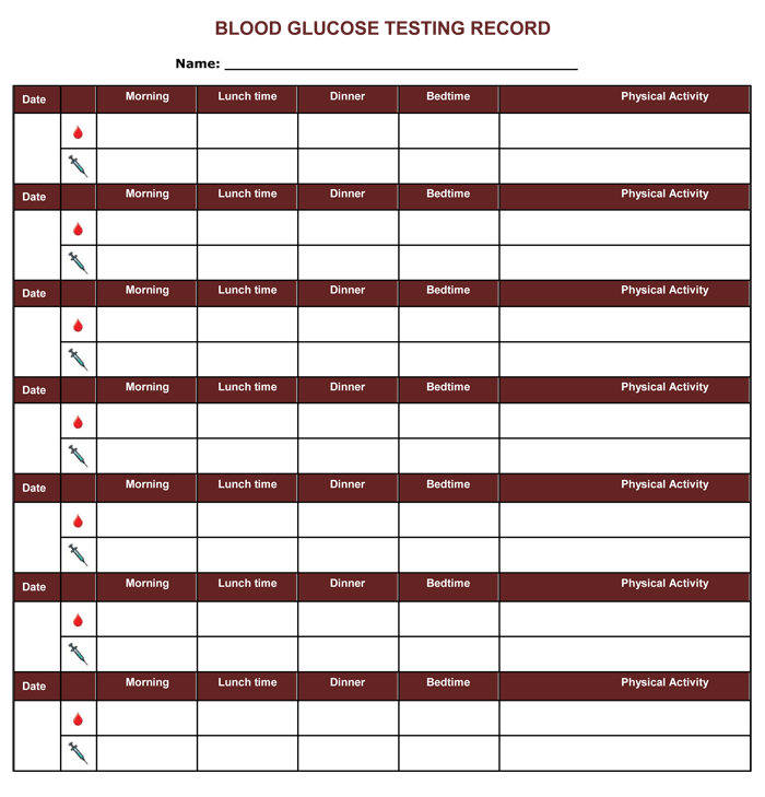 Blood Glucose Testing Record,
