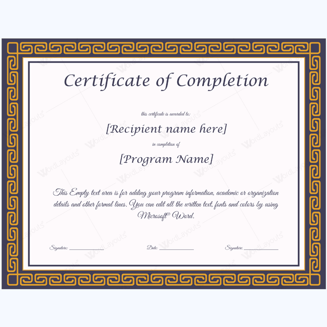 Certificate of Appreciation Templates Certificate of Completion ...