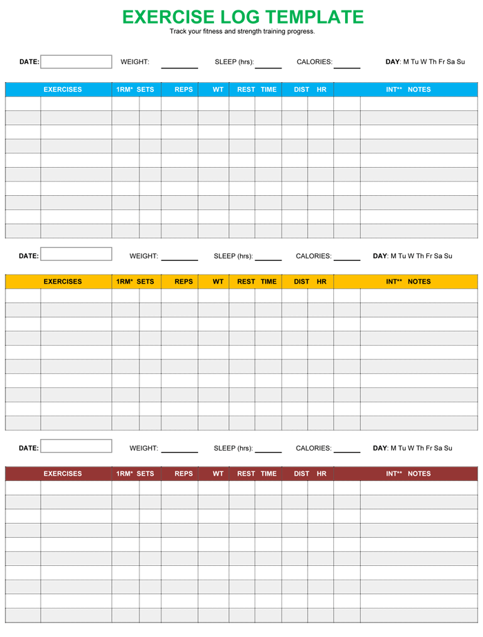 Exercise Log Template  Calorie Diary Template