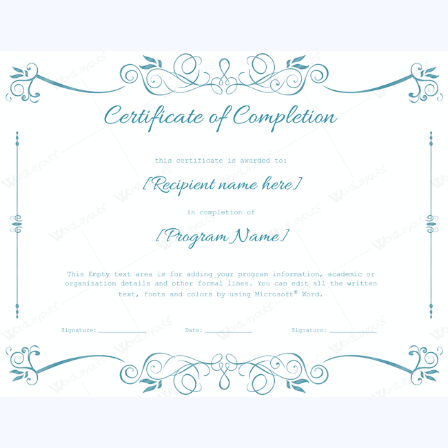 Free certificate of completion template word jcmanagement free certificate of completion template word certificate of completion template free word templates yadclub Gallery