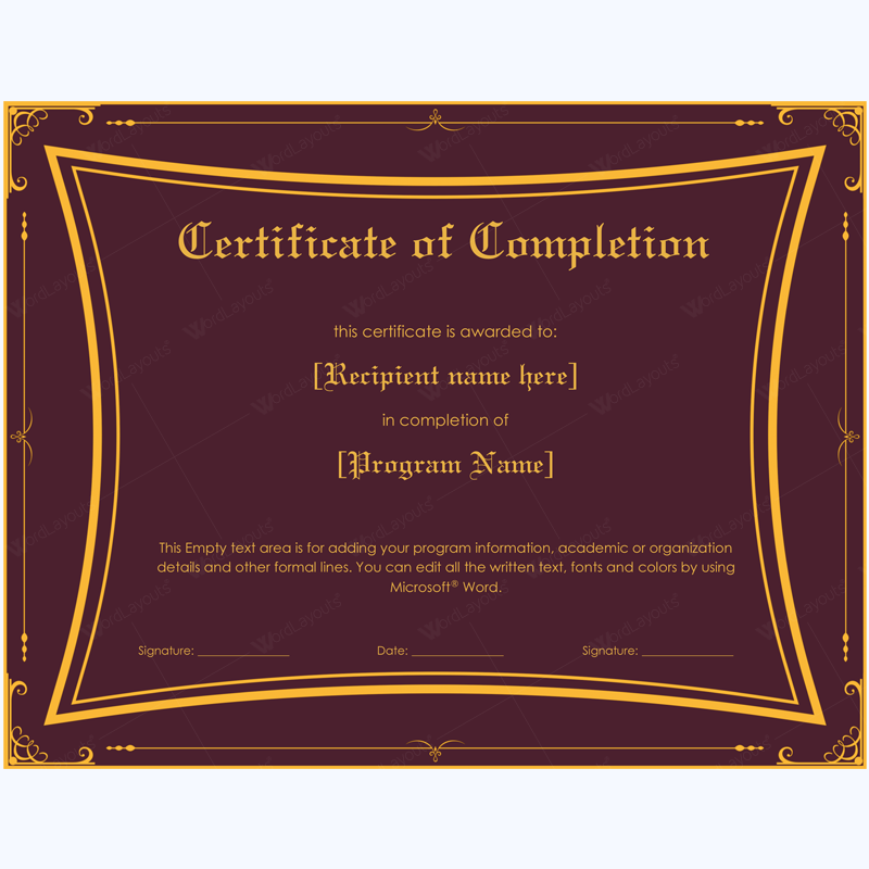 certificate of completion 06 word layouts. Black Bedroom Furniture Sets. Home Design Ideas