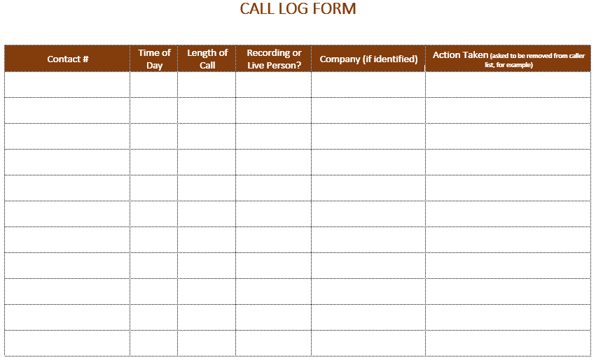 Attirant Free Printable Phone Log Template