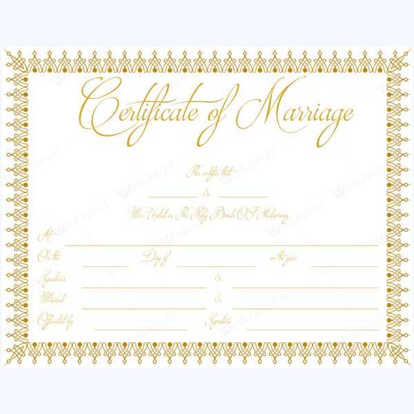 official marriage certificate template