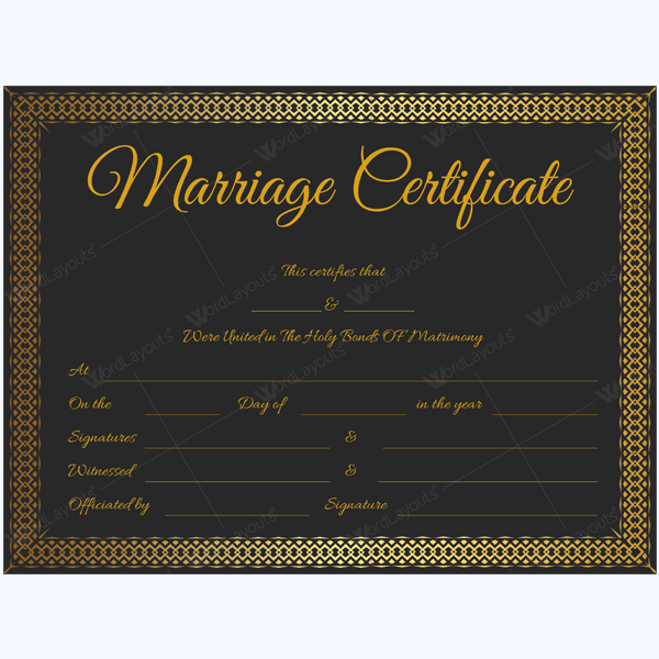 marriage certificate format in word