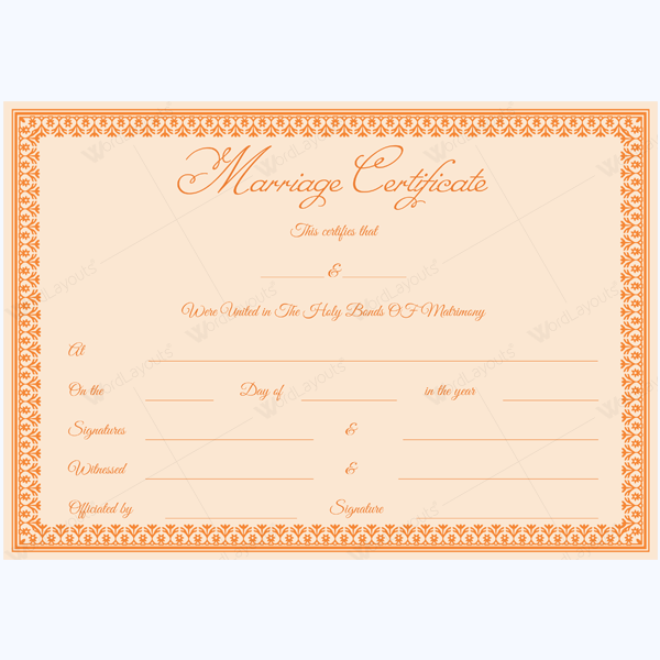 fake marriage certificate template free
