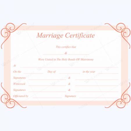 blank marriage certificate
