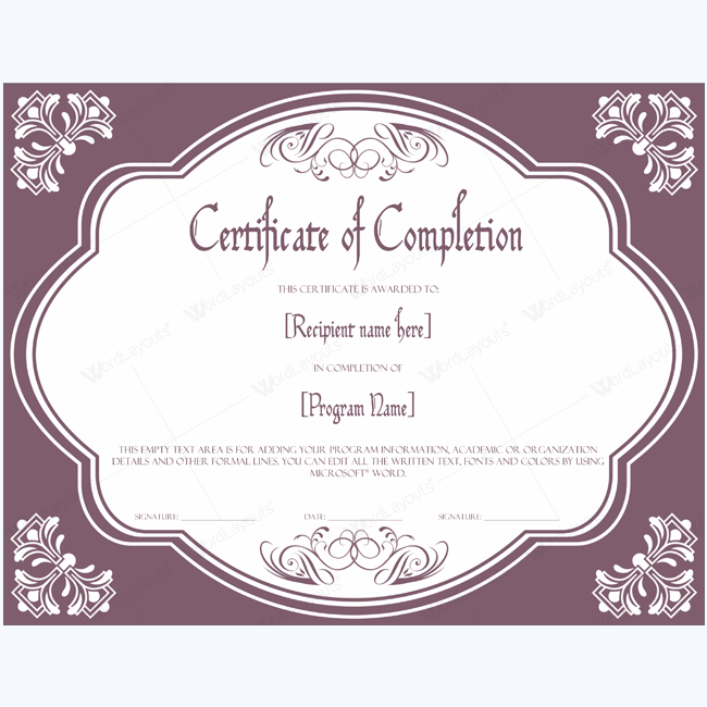 Certificate of completion 09 word layouts for Certificate template word 2016