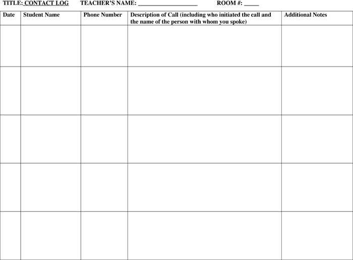 Parent Contact Log Template For PDF