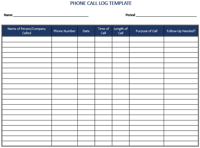 5 call log templates to keep track your calls. Black Bedroom Furniture Sets. Home Design Ideas