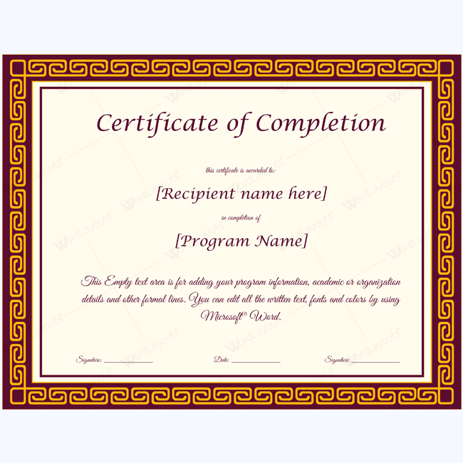 Certificate Of Completion 11 Word Layouts