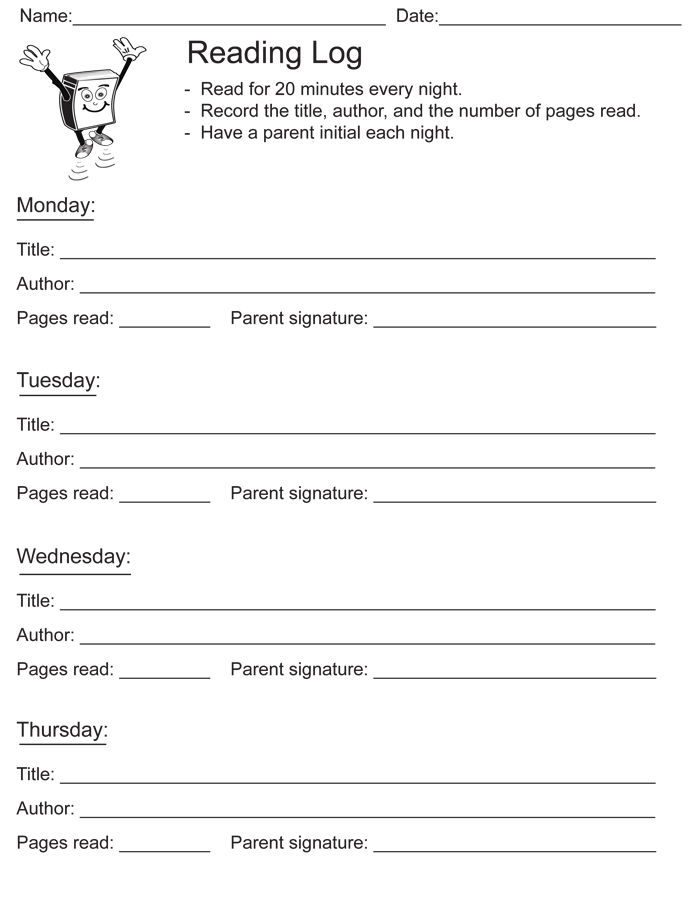 Reading Log Template for Middle School