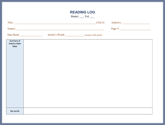reading log with summary template 8 reading log templates to keep your reading logs