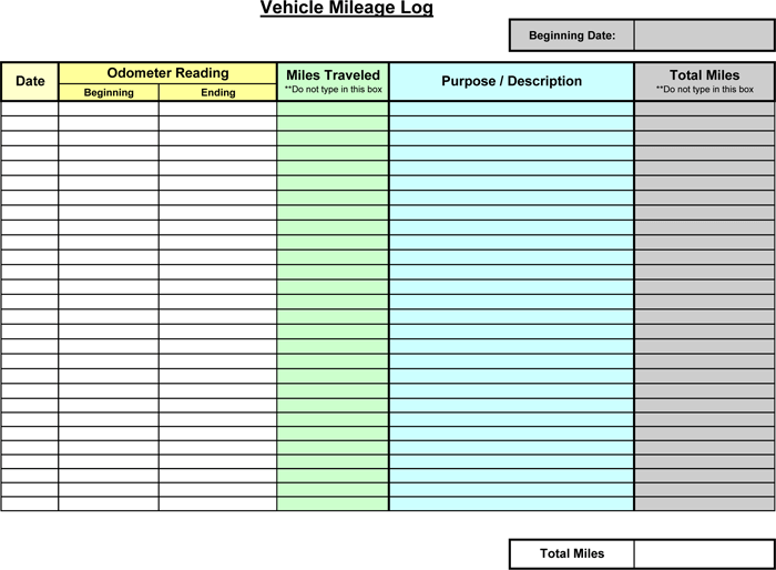 Vehicle Mileage Log Template