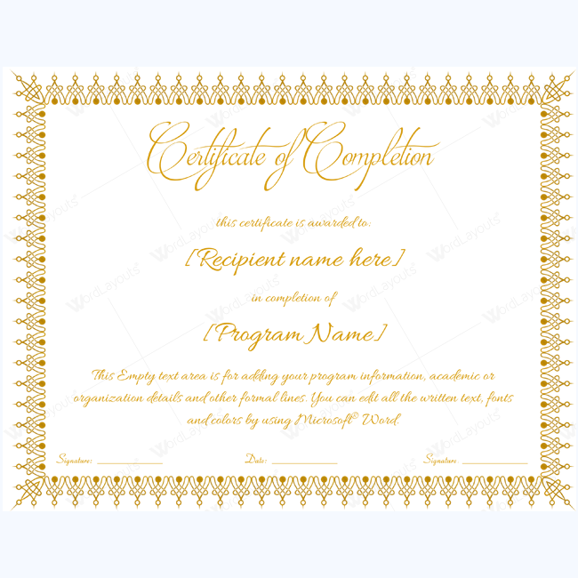 certificate of completion template word - certificate of completion 18 word layouts
