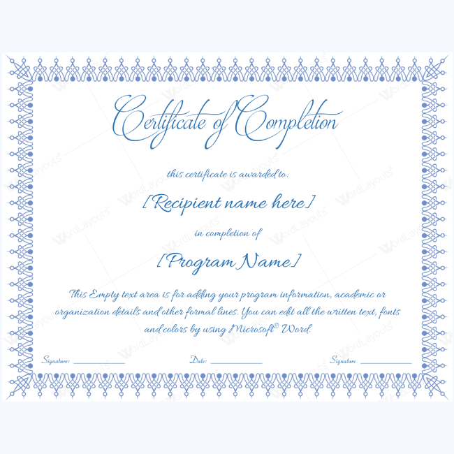 certificate of completion template free printable