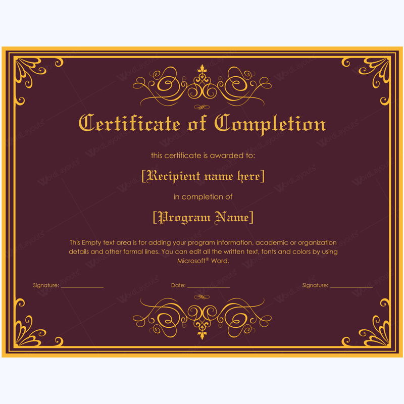 Certificate of completion 05 word layouts for Certificate template word 2016