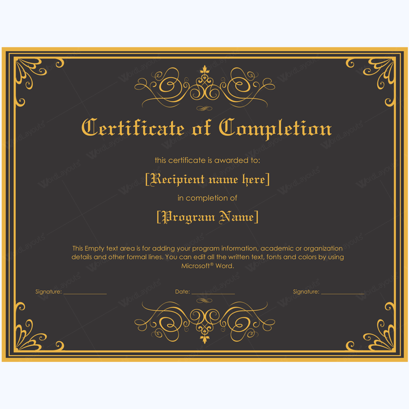 Certificate Of Completion 05 Word Layouts