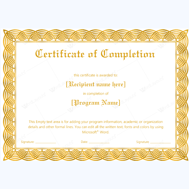 Certificate Of Completion 19 Word Layouts