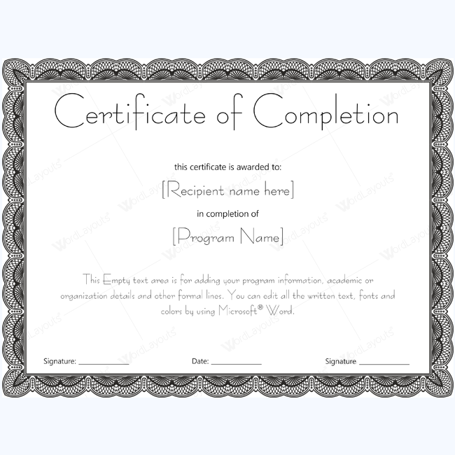 Certificate of completion 20 word layouts for Ms office certificate template