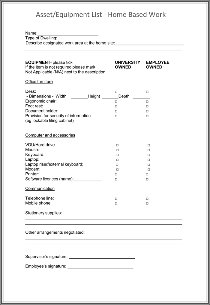 Asset List Template for Word