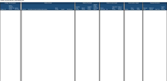 Asset Register Form for Excel®