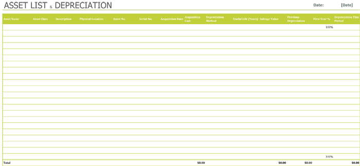 Asset list Template for Excel®