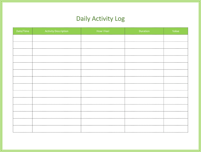 daily activity log template for word