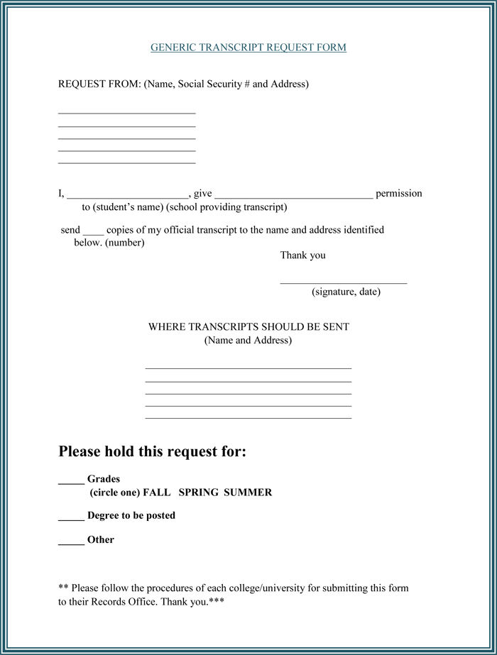 6 Plus Printable Transcript Request Templates