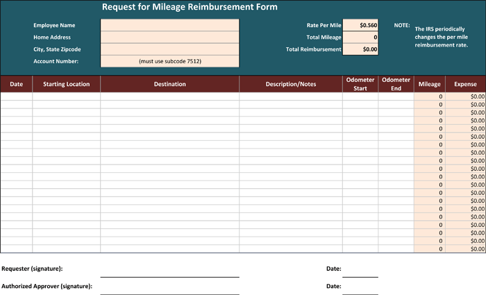 Mileage Reimbursement Form For Excel