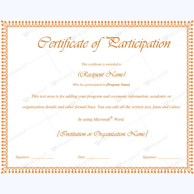 Certificate of participation 07 word layouts for Certificate of participation template