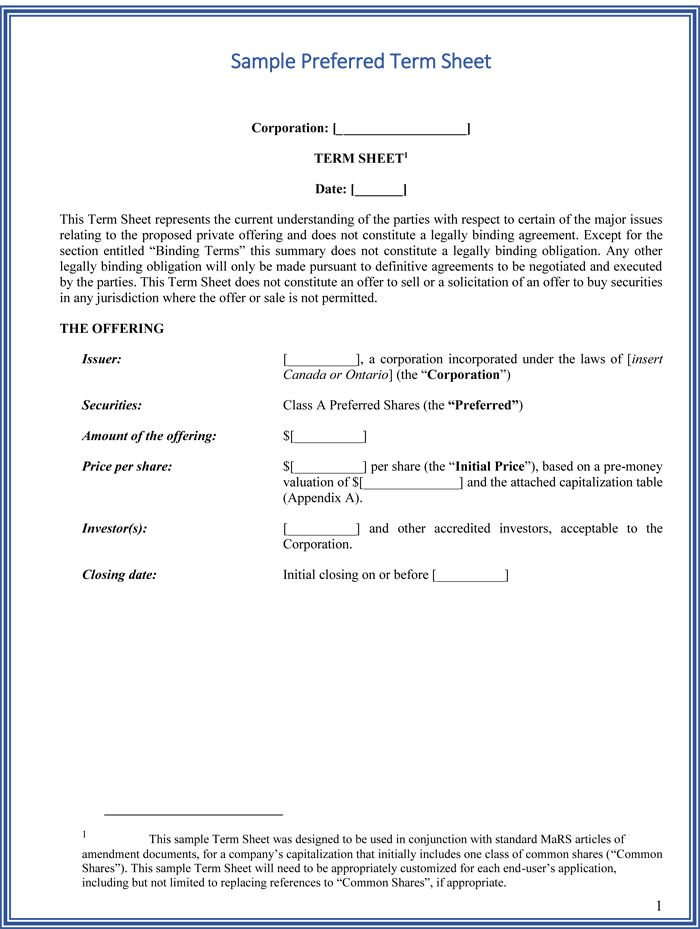 choose from 9   term sheet templates