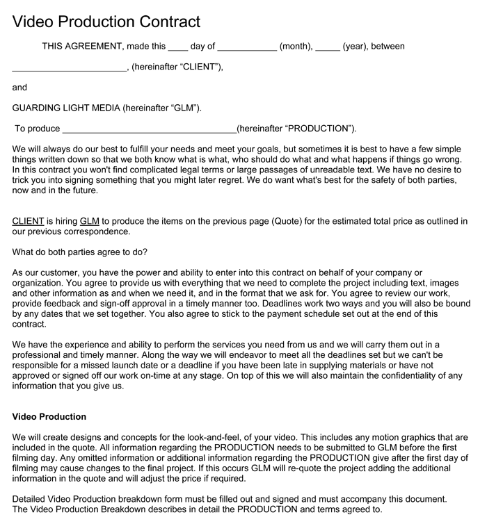 Video Production Contract - 6 Plus Printable Contract Samples