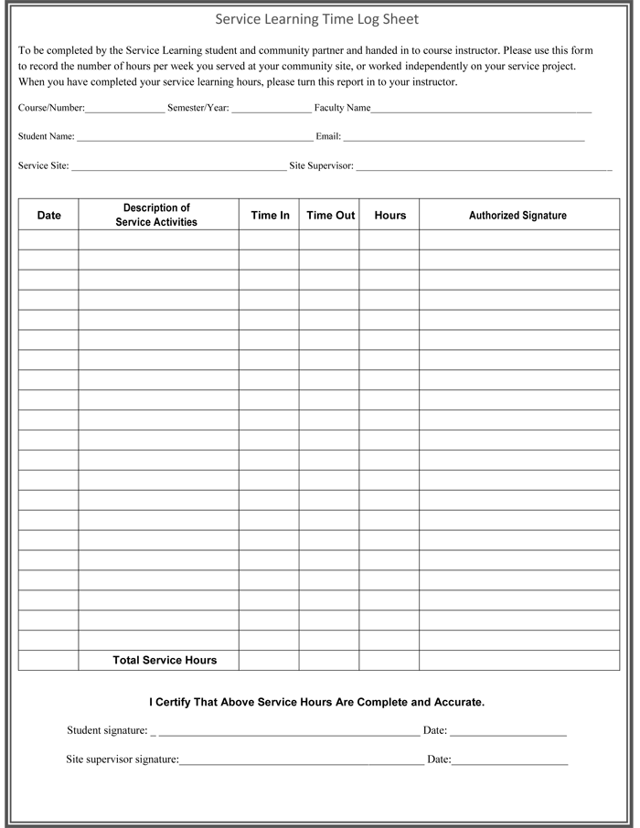 5 Plus Log Sheet Templates for Microsoft® Word and Excel®