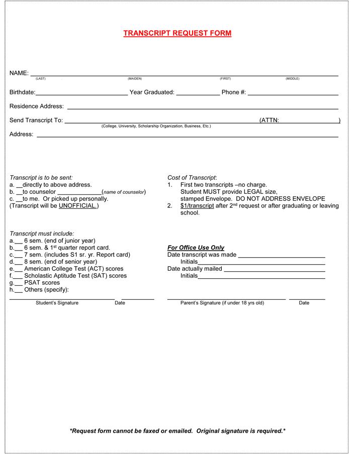official transcript template - request letter for transcript certificate transfer