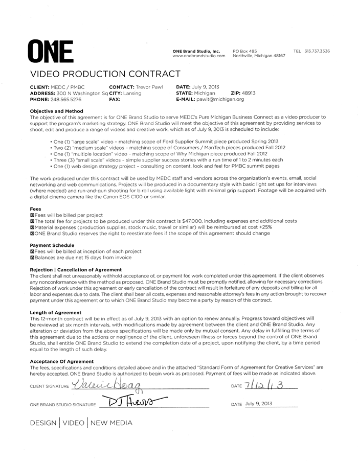 Video Production Contract Agreement  Printable Contracts