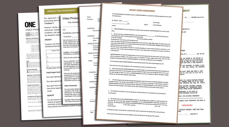 Video Production Contract 6 Plus Printable Contract Samples – Videography Contract Template